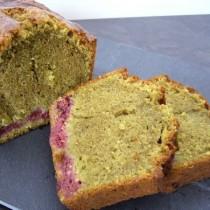 Cake thé matcha & framboises